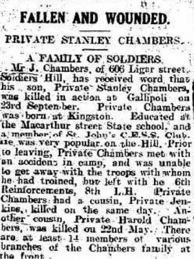 Ballarat Star Article Stanley Chambers Oct 1915